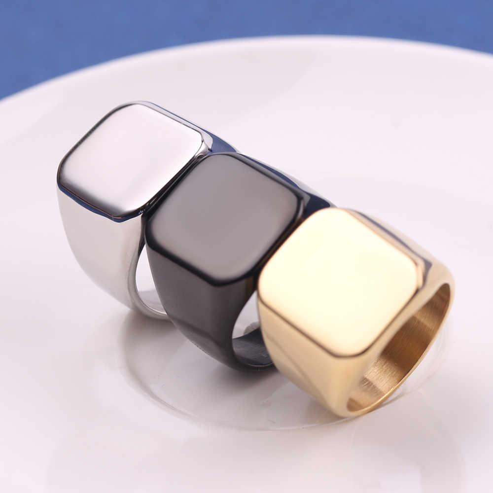ฟรีแกะสลักส่วนบุคคล Custom ชื่อโลโก้แหวนความกว้างรูปไข่ Signet แหวนนิ้วมือสแตนเลสของขวัญพิเศษสำหรับผู้หญิงผู้ชาย Jewel
