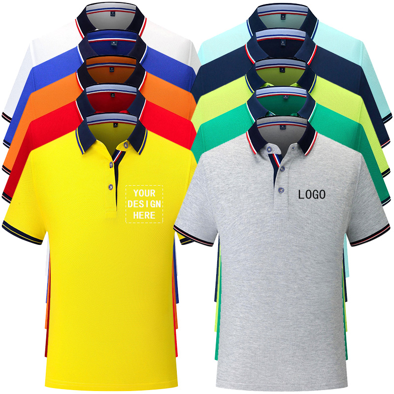 Custom embroidery logo polo shirt company work uniform Printing text or DIY photos-Staff Unisex Short Sleeve Cotton Polos(China)