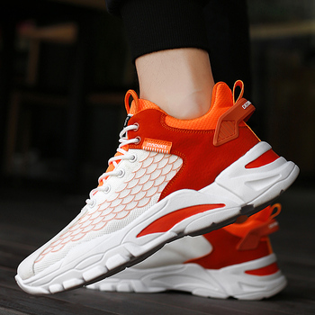 Damyuan Sneakers Casual arancioni da uomo nuove scarpe sportive da uomo con Design a lama verde scarpe da Tennis da uomo traspiranti moda bianca 1