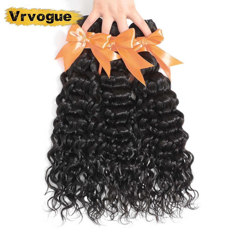 Vrvogue onda de água do cabelo pacotes com frontal orelha a orelha 13x6 rendas frontal com pacotes malaio feixes cabelo humano remy cabelo