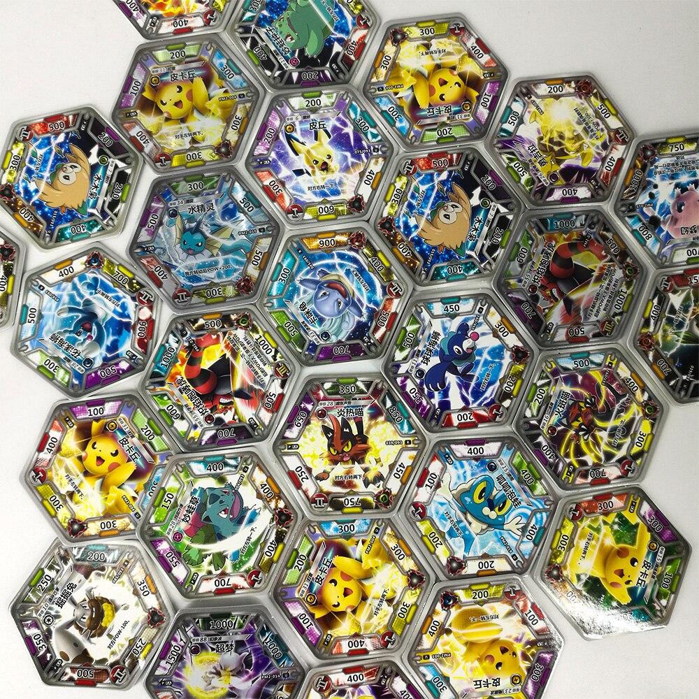 TAKARA TOMY jouets Pokemon cartes Collections Pikachu 168 pièces brillant carte Flash 7 pièces/boîte 24 box/ensemble jeu de Table pour enfants cadeaux