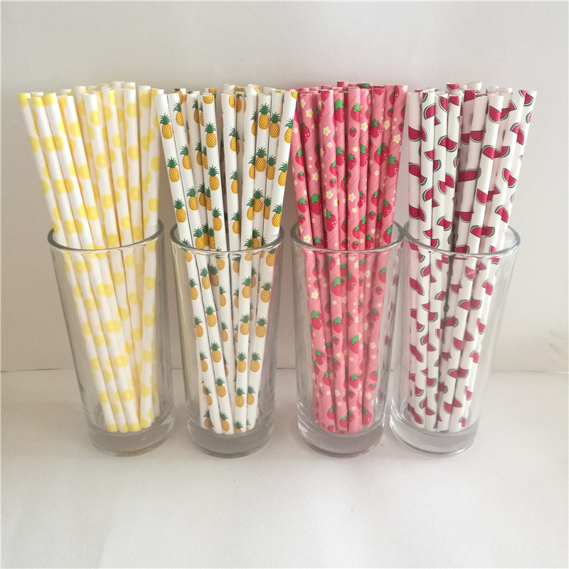 Fruit Pineapple Strawberry Watermelon Lemon Paper Straws For Birthday Wedding Decorative Party Supplies Creative Drinking Straws