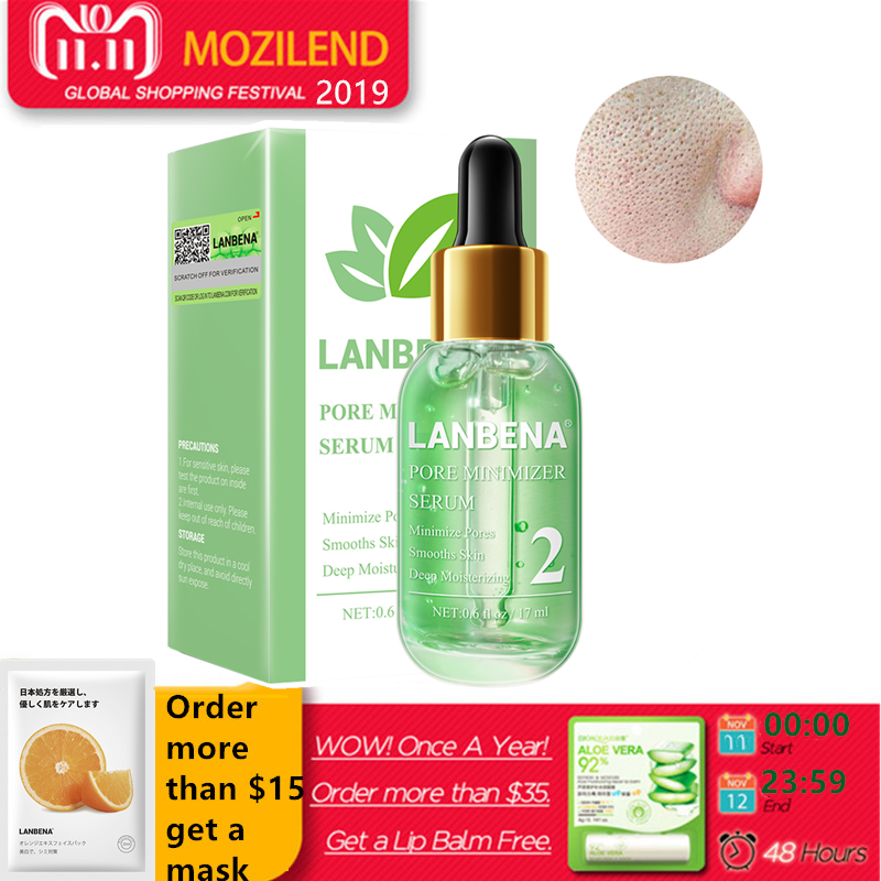 LANBENA Pore Minimizer Serum Removing Blackheads Shrinking Pores Peeling Acne Treatment Refining Essence Deep Cleaning Smoothing