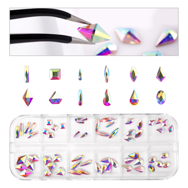 2220 Pcs Nail Decorations Rhinestones Glass Gems Stones Set Multi Shaped Crystal AB FlatBack Rhinestones For Nails Art 3D Craft 5