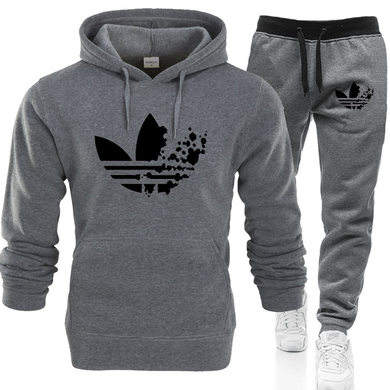 2019 Winter 2 PCS Tracksuit Men Casual Patchwork Sportwear Set Hoodies Sweatshirt Sweatpants Male Joggers Hoody Suits