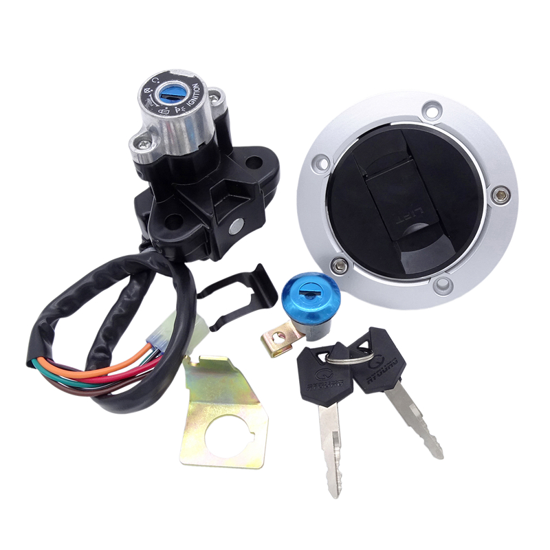 Motorcycle Oil Fuel Tank Gas Cap Keys Kit for Suzuki <font><b>GSF</b></font> <font><b>650</b></font> 1250 Bandit GSXR <font><b>650</b></font>/750/1000 SV1000 Lgnition Switch Lock with2 Key image