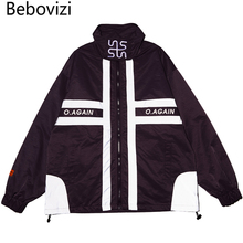 Bebovizi 2019 Men Hipster Streetwear Windbreaker Harajuku Black Track Jackets Hip Hop 3M Reflective Jacket Coat