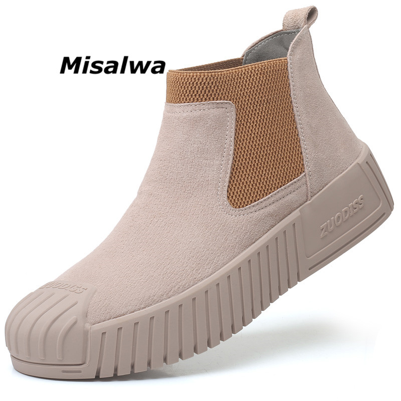 Misalwa 2019 Autumn New Desert Boots For Men Leather Elastic  Slip On Short Work Boots Hard-wearing Anti-collision Casual Shoes