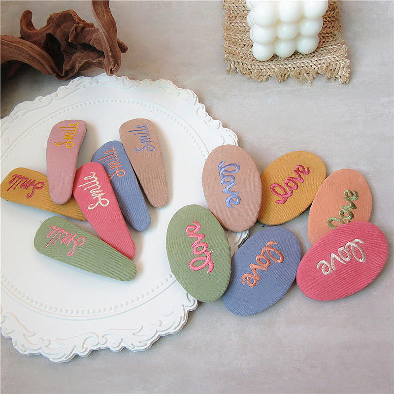Korean Simple Small Fresh Colorful Embroidery Letters Cotton BB Clip Fashion Sweet Girl Women Hairpins Hair Accessories