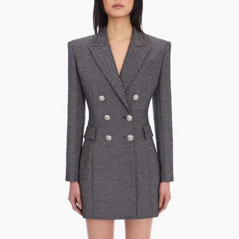 Office Lady Gray Long Blazer Women Fashion Temperament Double Breasted Button Buckle Slim Blazers Suit Jacket Dress High Quality