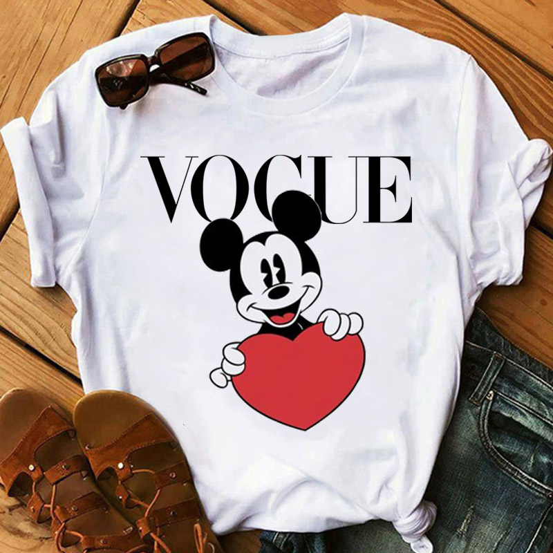 2020 Summer Tops Mouse Print Graphic Tees Women T-shirt Tumblr Streetwear Vogue Tshirt Kawaii Harajuku Casual Ladies T Shirt