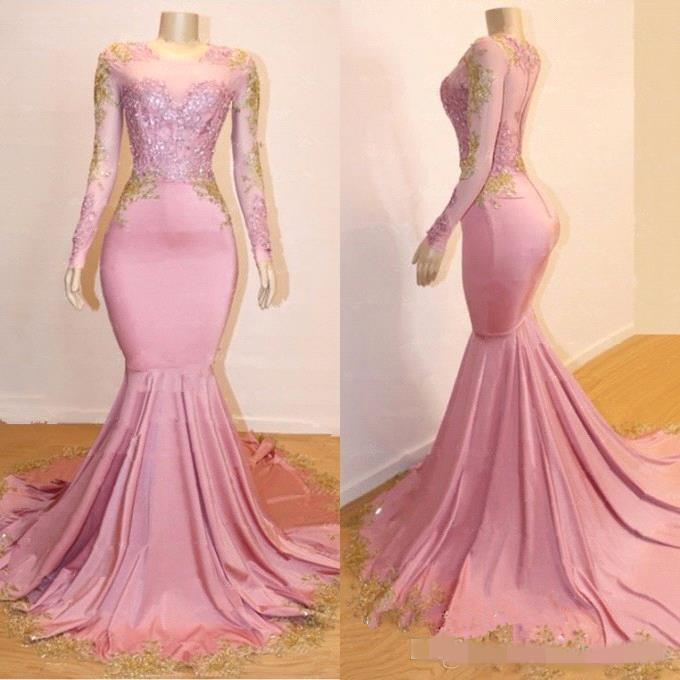 Long Sleeves Mermaid Long Prom Dresses 2019 Black Girls Gold Lace Applique Sweep Train Formal Party Evening Gowns Prom Dress
