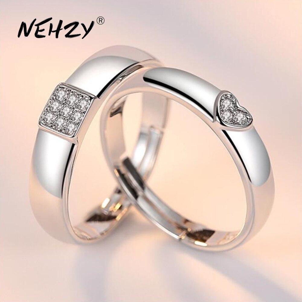 NEHZY 925 en argent sterling nouveaux bijoux mode couple anneau simple en forme de coeur fiançailles mariage anniversaire cadeau femme anneau
