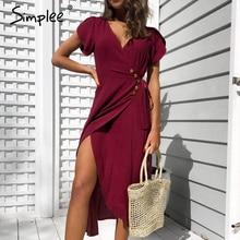 Simplee セクシーな v ネック女性ラップドレスカジュアル固体ボタン女性の夏のドレスエレガントな女性綿春 a ライン作業ミディドレス