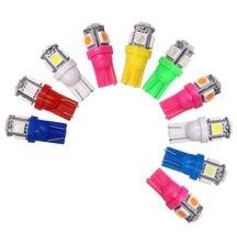 10Pcs T10 W5W 5050 5SMD Reading Dome Lamp Car LED 168 194 192 DC 12V License Plate Bulbs Marker Light Wedge Lights White blue