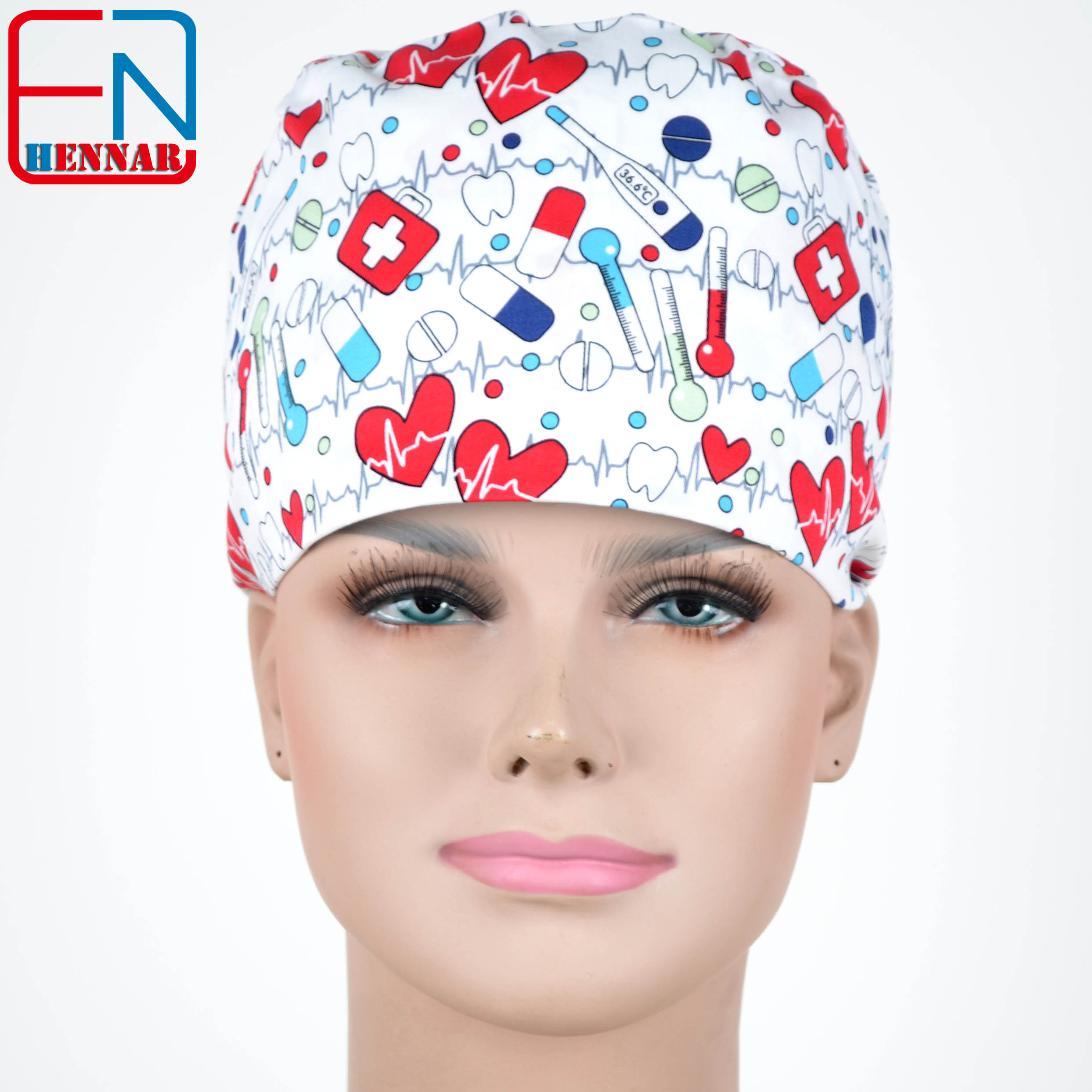 Hennar  Scrub Caps Masks 100% Cotton Adjustable Elastic Bands Surgical Scrub Caps Medical Hospital Doctor Headwear Cap Mask