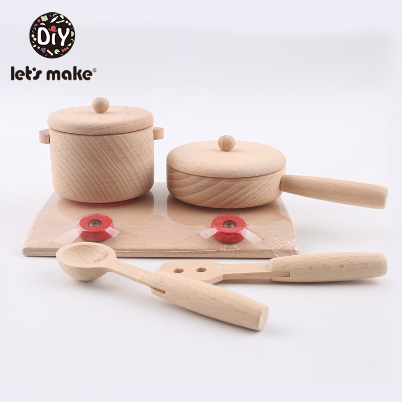 Image 2 - 1 Set Beech Kitchenware Toys Teether BPA Free Wooden Teething Interactive Toys Baby Home Toys Safe And Natural Baby Teether-in Wood DIY Crafts from Home & Garden