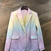 autumn early new female lapel symmetrical mouth with beads gradient long sleeve wild suit short jacket 917