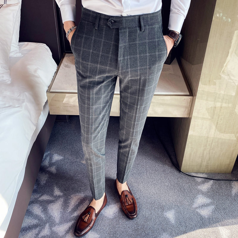 Plaid Pants Men Spring Business Dress Pants Formal Office Social Suits Pants High Quality Classic Slim Fit Wedding Trousers 38