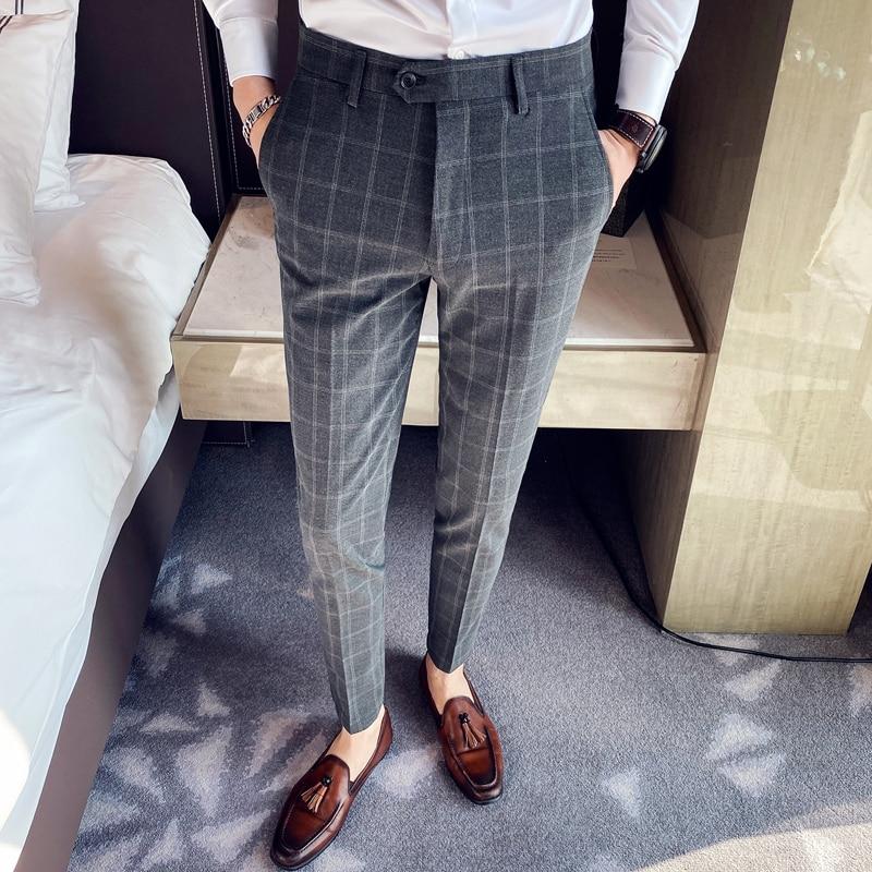 Plaid Pants Men Spring Business Dress Pants Formal Office Social Suits Pants High Quality Classic Slim Fit Wedding Trousers 38