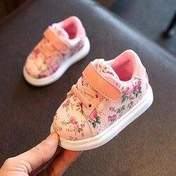 2019 милые туфли с цветами для маленьких девочек, удобные кожаные детские кроссовки для девочек, обувь для новорожденных, обувь с мягкой подош...