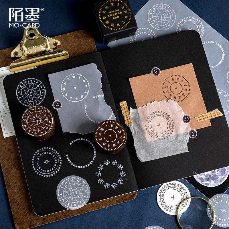 JIANWU Retro yuvarlak saat pusula ahşap pullar dekorasyon ahşap kauçuk conta için DIY Scrapbooking bullet dergisi standart damga