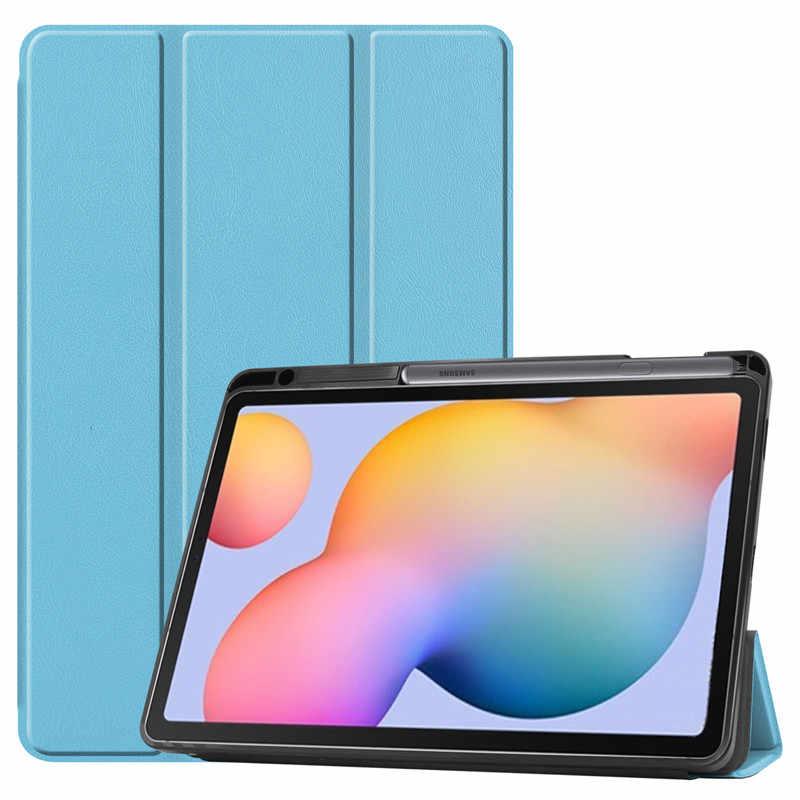 สำหรับSamsung Galaxy Tab S6 Lite 10.4 นิ้วSM-P610 P615 กรณีผู้ถือดินสอTri-Foldฝาครอบแท็บเล็ตสำหรับTab S6 Lite