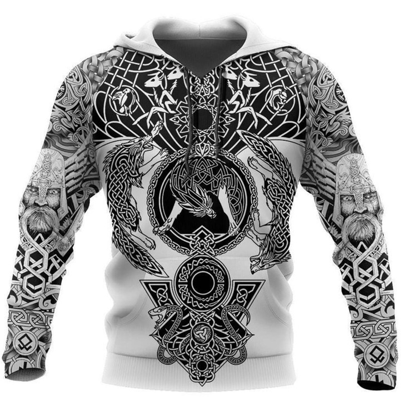 Beautiful Pattern Viking Tattoo 3D Printed Men Hoodies Harajuku Fashion Hooded Sweatshirt Autumn Unisex Hoodie Sudadera Hombre