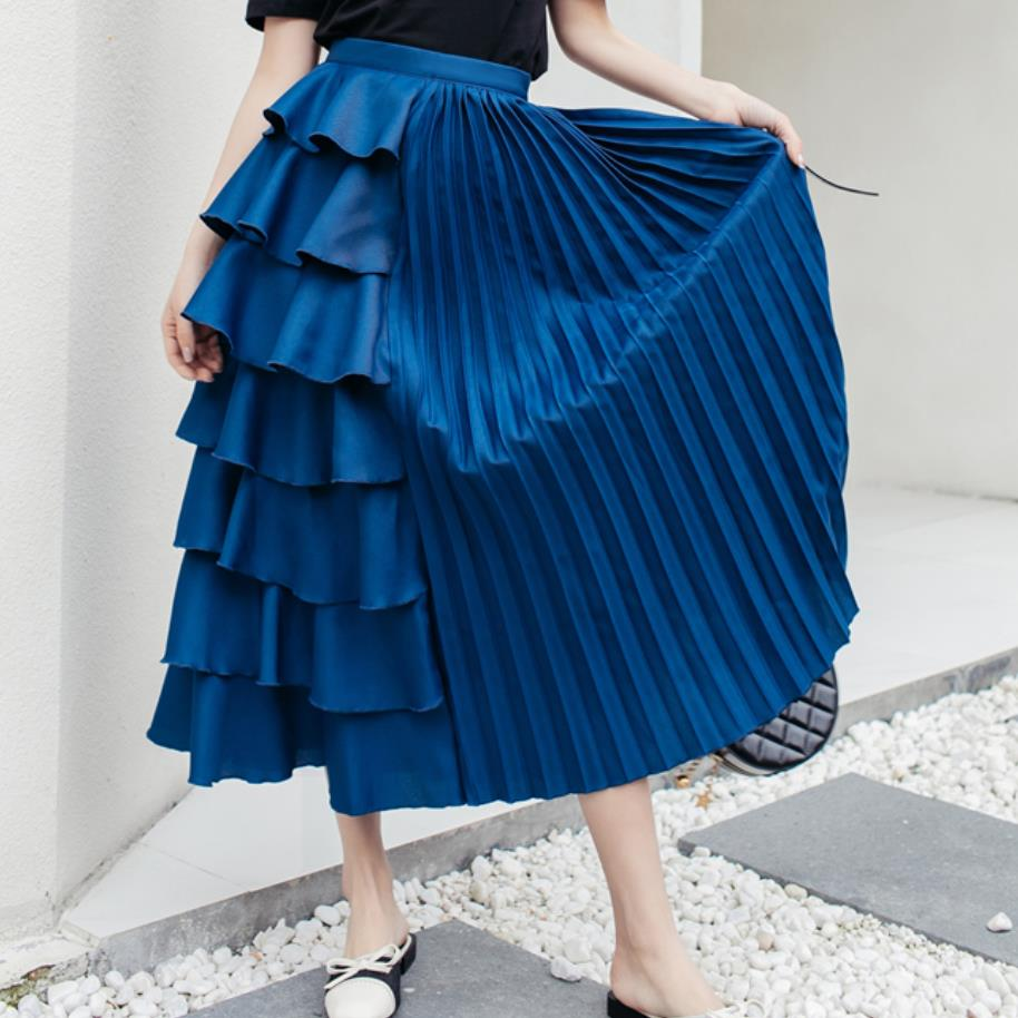 New Spring Autumn High Waist  Irregular Pleated Ruffles Skirt Women Fashion Mid Calf Skirt