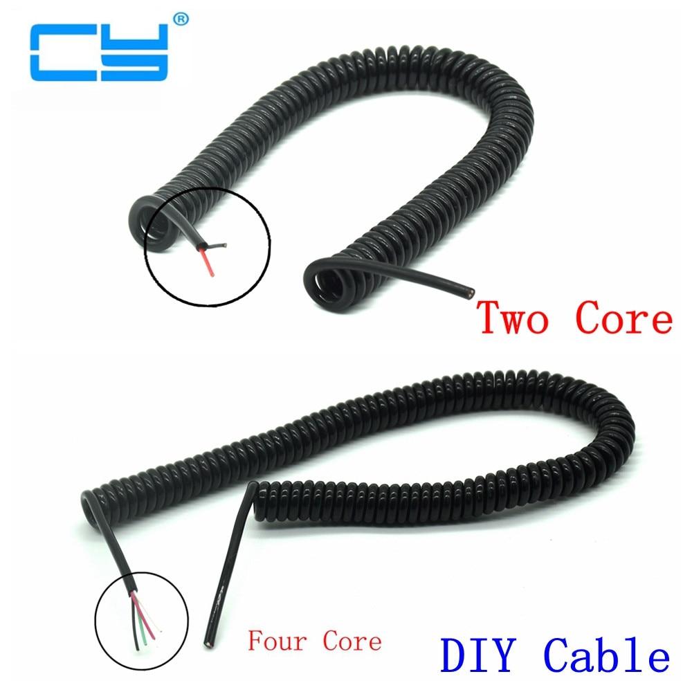 DIY Spring Curl Line Usb Line Usb 2 Core 4 Core Wire Microusb Extension Data Cable 2.0m  200cm