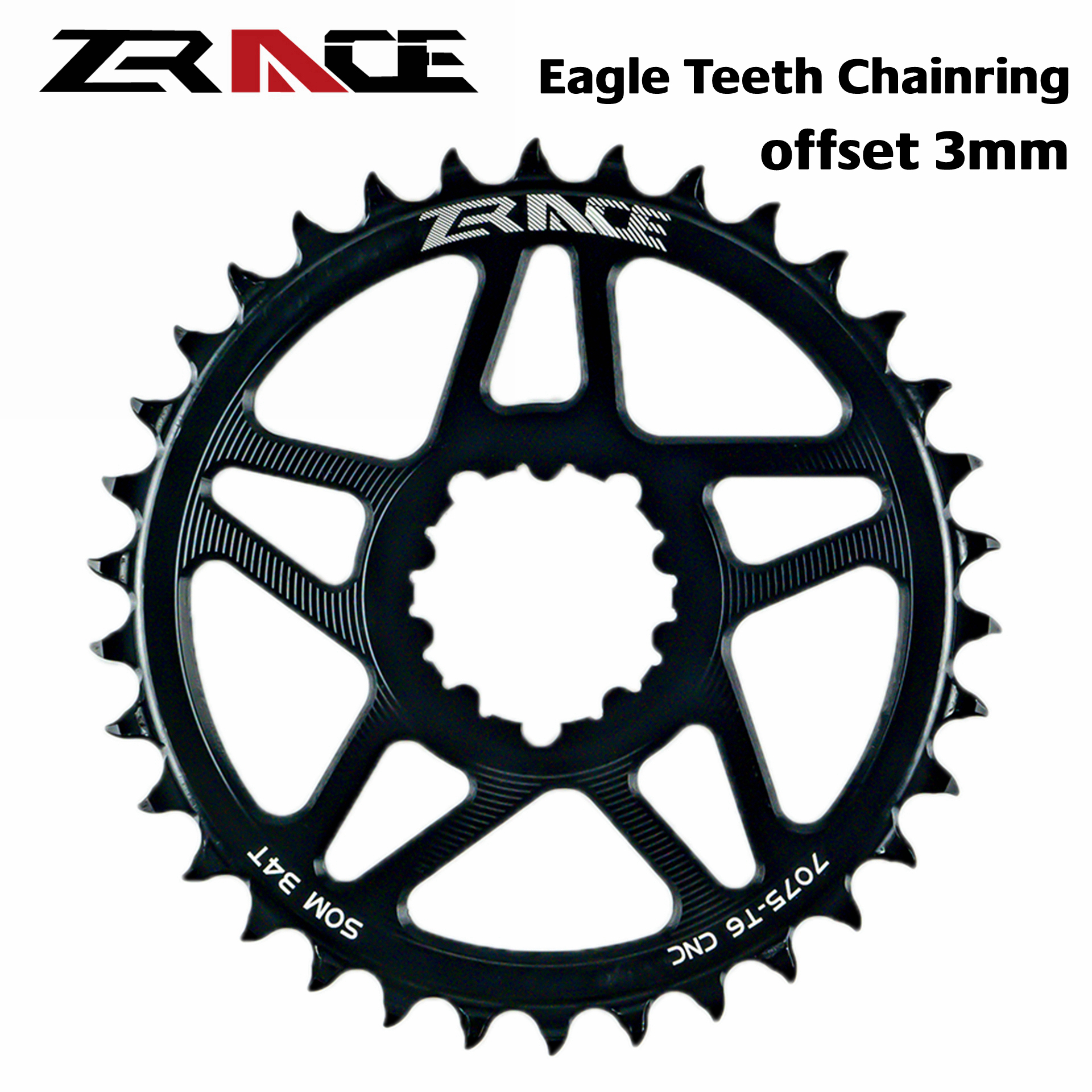 Zrace 10s 11s 12s Chainring, Eagle Teeth 7075al Cnc, Offset 3mm, Mtb Chainwheel, For Sram Direct Mount Crank, Compatible Eagle image