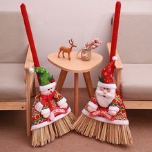 Christmas decoration exquisite flannelette creative Santa Claus snowman cartoon broom set supplies