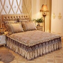 Europejski pikowana koronkowa aksamitna narzuta podwójna królowa pełny duży rozmiar falbanka na ramę łóżka wzburzyć narzuta poszewki miękkie ciepłe 3 sztuk