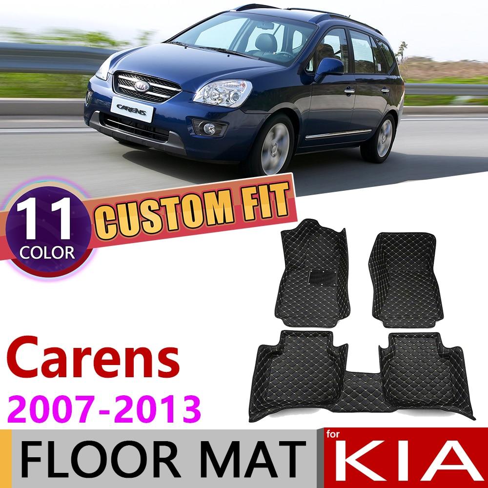 Custom Leather Car Floor Mats For Kia Carens UN 2007~2013 5 7 Seats Auto Mat Foot Pad Carpet Accessories 2008 2009 2010 2011