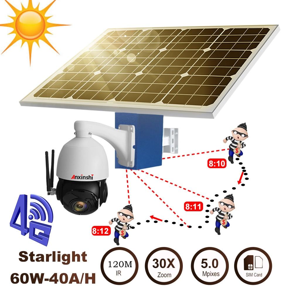 Солнечная панель для 4G 5MP HD Авто слежение WiFi камера SIM карта TF слот для карты водонепроницаемый источник питания 40A батарея Открытый PTZ камера