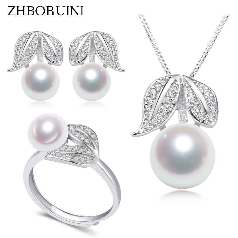 ZHBORUINI 2020 Fine Pearl Jewelry Set 100% Real Natural Freshwater Pearls Rings Necklace Earrings 925 Sterling Silve For Women