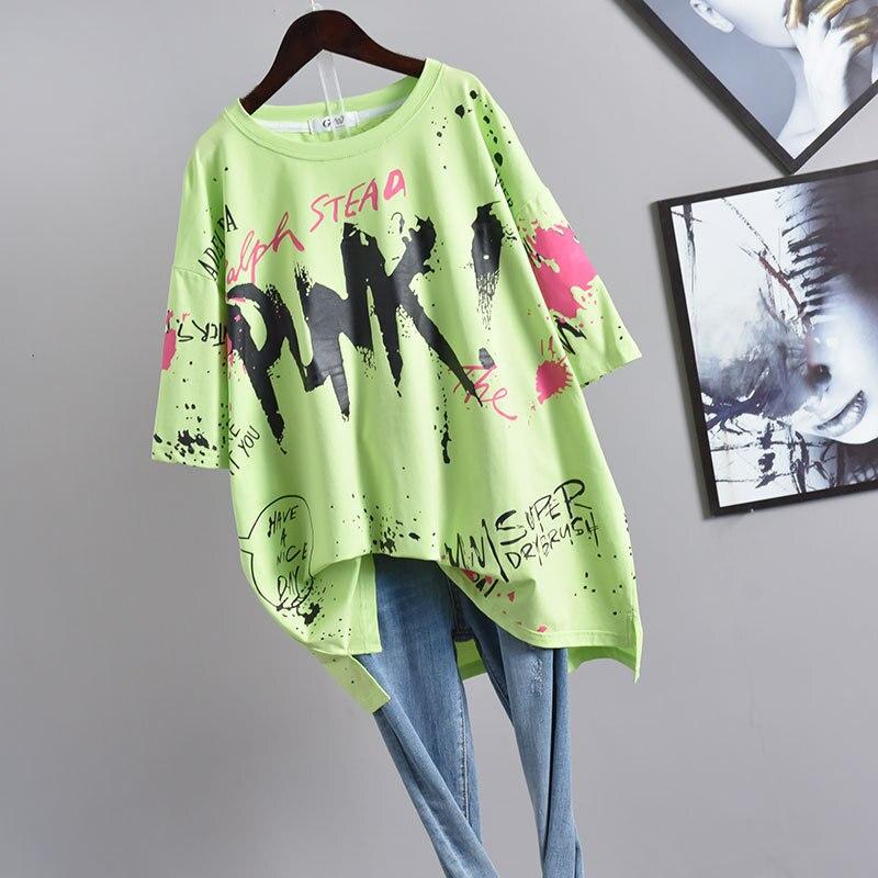 2020 Summer New Korean Women Harajuku Style Graffiti Short-sleeved T-shirt Loose And Thin Plus Size T-shirt Women Free Shipping 1