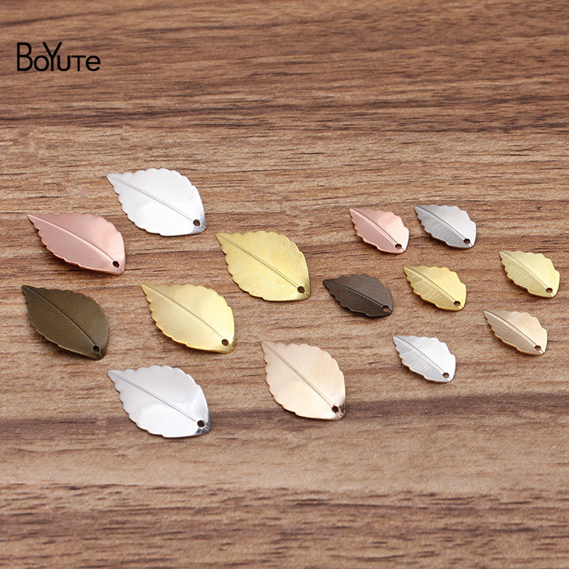 BoYuTe (100 Pieces/Lot) 10*17MM 16*25MM Metal Brass Stamping Leaf Charms For Jewelry Making Diy Hand Made Materials Wholesale