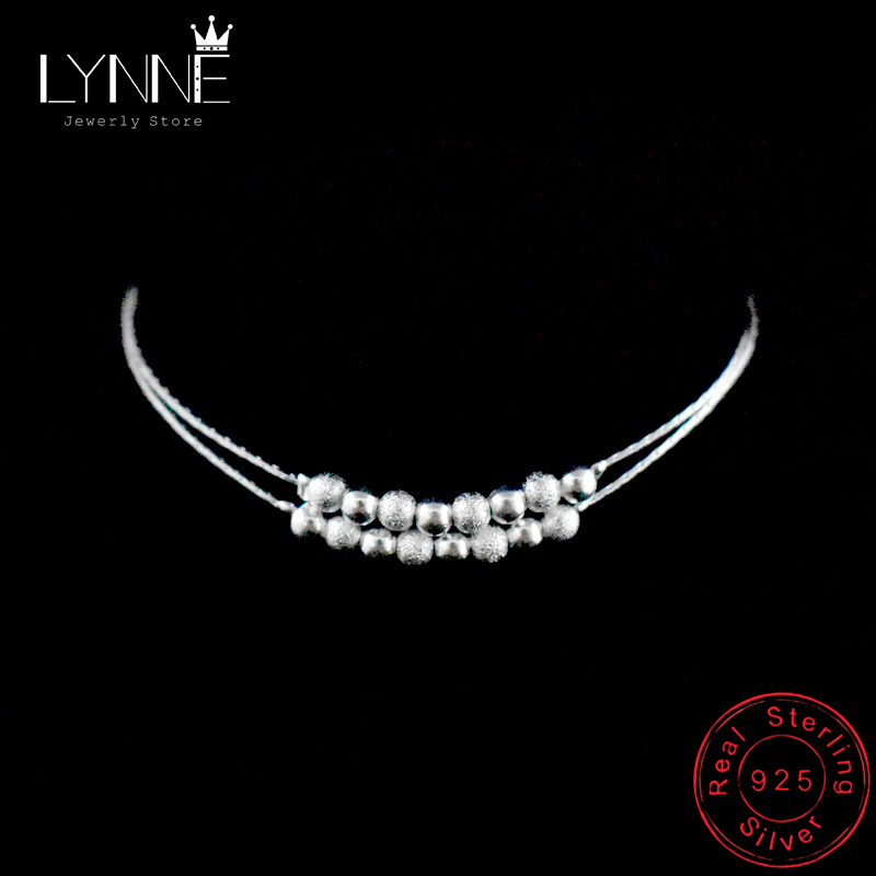 Hot Sale Double Layer Ball Bead Women Anklet 925 Sterling Silver Frosted Beads Pendant Foot Chain Beach Anklets Bracelet Jewelry