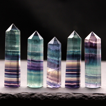 1PC Natural Fluorite Hexagonal Column Crystal Point Healing Wand Mineral Crystal Home Decoration Stone Study Room Decoration image
