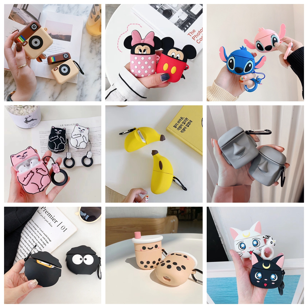 Cartoon Cute Box Wireless Bluetooth Headset Case For Apple Airpods 1 2 Earphone Soft Silicone Cover For Airpods Protective Cases