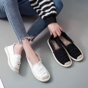 Image 3 - Kobiety mieszkania balerinki Slip On w stylu Casual, damska na płótnie buty mokasyny oddychające kobiet espadryle jazdy obuwie Zapatos Muje