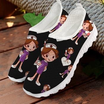Jackherelook-Zapatillas médicas con dibujo de enfermera para mujer, Zapatos planos transpirables de...