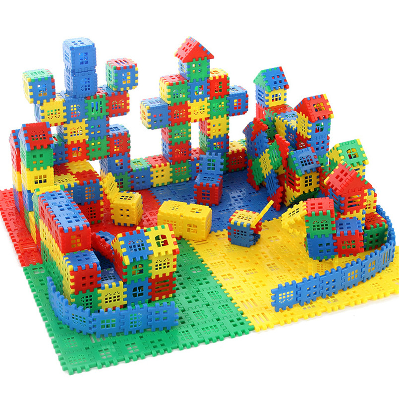 Large Size Plastic 3D Interconnecting Building Blocks Toys For Children Learning Colorful DIY Block Boys Toy Brain Game Gift