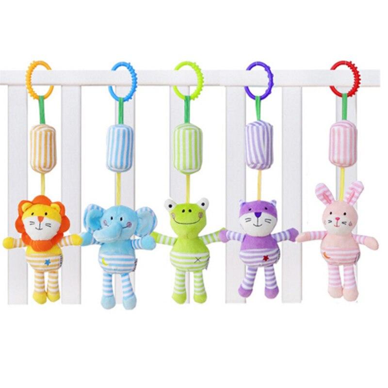 Cartoon Animal Frog Elephant Rabbit Cat Lion Hanging Toys For Kids Baby Crib Stroller Rattles Soft Newborn Plush Rattle Toys