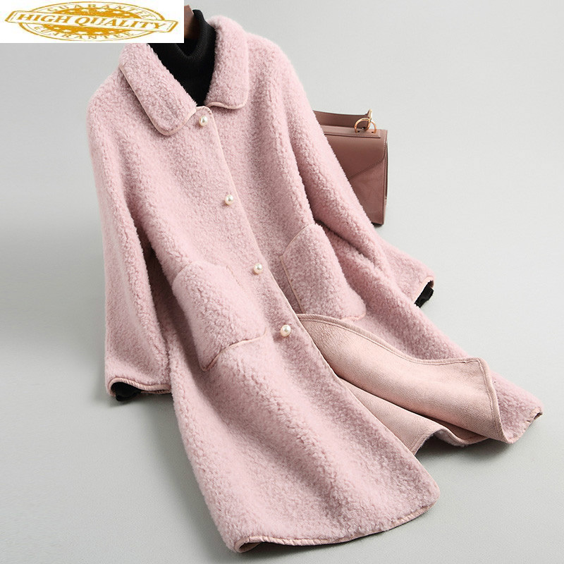 AYUSNUE Real Fur Coat Women Clothes 2020 Autumn Winter Jacket For Women 100% Wool Long Coats Female Korean Red KQN19007 KJ2948