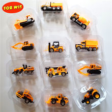 New 17 Different Style, Mini Urban Supper Alloy Vehicle Model Toy, Metal+Plastic Engineering Farm Car, Simulate Manual Pull Back(China)