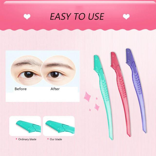 3pcs Eyebrow Shaver Portable Eyebrow Trimmer Hair Remover Set Stainless Steel Blade Women Face Makeup Cosmetic Kit Gifts TSFH 4