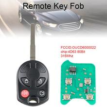 цена на 315Mhz 4 Buttons  Remote Key Fob with 4D63 80Bit Chip OUCD6000022 Fit for Ford Focus 2012 2013 2014 2015 2016 New
