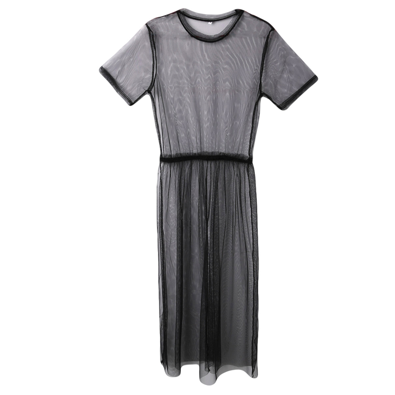 Women See Through Mesh Long Blouse Cover Up Shirt Dress Sheer Beach Cover Up Tulle Lace Women See Through Mesh Long Blouse Cover Up Shirt Dress Sheer Beach Cover Up Tulle Lace Transparent Streetwear Blusas Tee